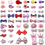 DeD 50 Pieces Mini Hair Bow Clips Multiple Shapes Cute Fine Hair No Slip Baby Hairclips Hair Accessories for Baby Girls Infan