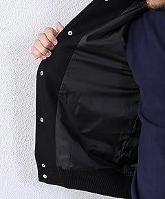 Melton Leather Award Jacket 7560-640-5037: Black