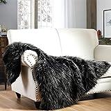 Luxury Faux Fur Throw Blanket, Black Peacock Feather Pattern Faux Fur Throw Blanket, Super Warm, Fuzzy, Elegant, Fluffy Decor
