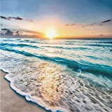 DIY 5D Full DrillDiamond Painting Kit, Beach Sunset (Set by Number) Digital Painting Round Diamonds, Adult Diamond Painting K