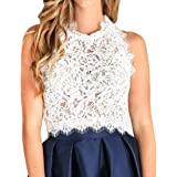 Women's Sleeveless Sheer Blouse See Through Lace Crop Top