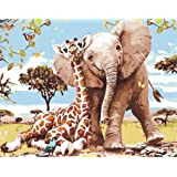Paint by Numbers-DIY Digital Canvas Oil Painting Adults Kids Paint by Number Kits Home Decorations- Elephant and Giraffe 16 *