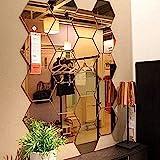 Mirror Wall Stickers, 12PCS Hexagon Mirror Art DIY Home Decorative Hexagonal Acrylic Mirror Wall Sheet Plastic Mirror Tiles f