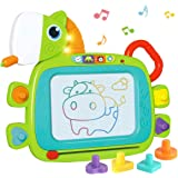 KaeKid Magnetic Drawing Board for Kids, Educational Writing and Learning Doodle Pad Creative Toy with Light and Music, Cute P