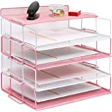 4 Tier Reinforce Stackable Paper Document Letter Tray Desk Organizer, Metal Mesh File Holder Organizer for Home Office School