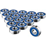 608RS Skateboard Bearings x 16 Frictionless Abec 9 Roller Bearing for Skate boards by Trixes