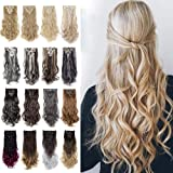 """8Pcs 18Clips 24"""" Long Thick Straight Curly Wavy Full Head Hairpieces Clip in Double Weft Hair Extensions 100% Japanese Kaneka"""