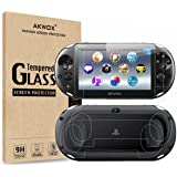(4-Pack) Screen Protectors for Sony Playstation Vita 2000 with Back Covers, Akwox 9H Tempered Glass Front Screen Protector an