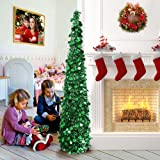 AerWo 5ft Pop up Christmas Tinsel Tree with Stand, Gorgeous Collapsible Artificial Christmas Tree for Christmas Decorations,