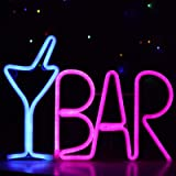 LED Bar Sign Neon Light USB Powered Blue Cocktail Glass & Pink BAR Light Up Letter Advertisement Board Electric Display Sign
