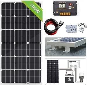 ECO-WORTHY 100W 12v太陽光発電キット 100W単結晶ソーラーパネル 20A液晶表示画面チャージコントローラー付属 急速充電
