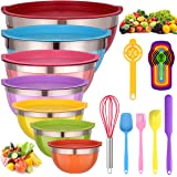 Mixing Bowls with Lids for Kitchen - 26 PCS Stainless Steel Nesting Colorful Mixing Bowls Set for Baking,Mixing,Serving & Pre