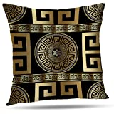 Tyfuty Greek-Key Throw Pillow Covers, PillowcasesModern Geometric Greek Pattern Gold Wallpaper with Key Cushion Use for Livin