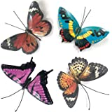 VOKPROOF Metal Butterfly Wall Decor - 4 Pack Butterflies Art Decorations for Outdoor Garden,Patio,Fence
