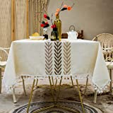 smiry Embroidery Tassel Tablecloth - Cotton Linen Dust-Proof Table Cover for Kitchen Dining Room Party Home Tabletop Decorati
