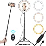 """10"""" Selfie Ring Light with 51"""" Tripod Stand & Smart Phone Holder for Live Stream/Makeup 