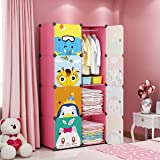 MAGINELS Children Wardrobe Dresser Portable Closet Bedroom Armoire Clothes Hanging Storage Rack Cube Organizer Large Blue Pin