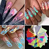 16PCS Holographic Fire Flame Nail Stickers - Halloween Flame Reflections Nail Art Decals 3D Vinyls Nail Stencil for Nails Man
