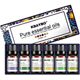 K KBAYBO Essential Oil for Diffuser, Aromatherapy Oil Set, 6 Kinds Fragrance of Lavender, Tea Tree, Rosemary, Lemongrass, Ora