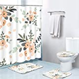 Britimes 4 Piece Shower Curtain Sets, with 12 Hooks, Summer Pink Floral with Non-Slip Rugs, Toilet Lid Cover and Bath Mat, Du