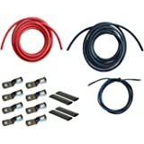 WindyNation 4/0 Gauge AWG (6 Feet Black + 6 Feet Red) Power Inverter Battery Cable Wire Kit for DC to AC Inverters RV, Car, S