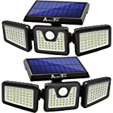Solar Lights Outdoor, AmeriTop 128 LED 800LM Wireless LED Solar Motion Sensor Lights Outdoor; 3 Adjustable Heads, 270° Wide A