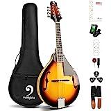 Vangoa A Style Mandolin Musical Instrument Sunburst, 8 String Acoustic Mandolin with Tuner, Strings, Bag, Picks