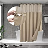N&Y HOME Waffle Weave Shower Curtain with Snap-in Fabric Liner Included 12 Hooks - Hotel Style & Mesh Top Window, Machine Was