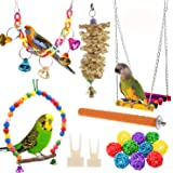 Anteer 12 Packs Bird Parrot Swing Chewing Toys - Hanging Bell Birds Cage Toys Suitable for Small Parakeets, Cockatiel, Conure