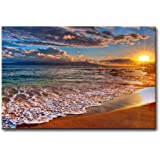 Wall Art Painting Beach Sunrise White Wave Prints On Canvas The Picture Seascape Pictures Oil for Home Modern Decoration Prin