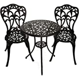 InnFinest 3-Piece Patio Bistro Dining Set - Cast Aluminum Table and Chairs - Outdoor Furniture Tulip Design - with Umbrella H
