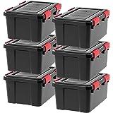 IRIS USA UCB-SS WEATHERTIGHT Storage Box, 19 Qt, Black/Red, 6 Pack