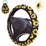 Sunflower Steering Wheel Cover, AFUNTA Cute and Universal Steering Wheel Cover & Keychain & Air Freshener Holder for Woman, C
