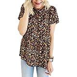 FSSE Women's Beach Bohemian Floral Print Short Sleeve Summer Tunic T-Shirt Blouse Top