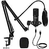 Studio USB Condenser Microphone, ikedon Professional 192kHz/24bit Cardioid Recording Microphone, Plug&Play Computer Microphon
