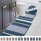 "Original Striped Luxury Chenille Bathroom Rug Mat (32"" x 20""/20"" x 20""), Extra Soft & Absorbent Shaggy Rugs, Machine Wash/Dry"