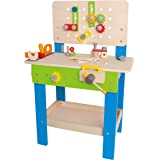 Master Workbench by Hape | Award Winning Kid's Wooden Tool Bench Toy Pretend Play Creative Building Set, Height Adjustable 32