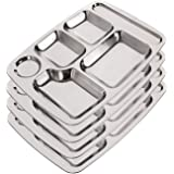 Rectangle Six in one Dinner Plate - Stainless Steel Divided Dinner Tray, 5 Sections Divided Mess Trays for Lunch, Mess Trays