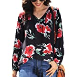 Les umes Womens Floral V-Neck Casual Loose Blouse Plus Size Fashion Shirts Tops