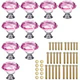 KEIVA 10pcs Diamond Shape Crystal Glass 30mm Drawer Knob Pink Pull Handle Usd for Cabinet Drawer Cupboard Chest Dresser with