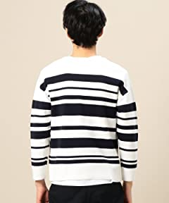 Stripe Milano Rib Crewneck Shirt 1213-105-3196: Navy