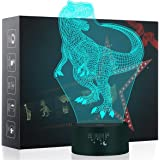 3D Night Light, LED Lamp for Kids, Dinosaur Toys for Boys, 7 Colors Touch Table Desk Lighting, T-Rex Illusion Neon with USB,