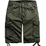chouyatou Men's Cotton Loose Fit Multi Pocket Twill Comfort Cargo Shorts