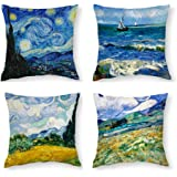 HOSTECCO Vincent Van Gogh Pillow Cases Set of 4 Abstract Art Design Cushion Covers Square Decorative Pillow Covers for Famous