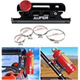 AUFER Universal Aluminum Adjustable Quick Release Roll Bar Fire Extinguisher Mount Holder with 8 Clamps for Jeep Wrangler UTV