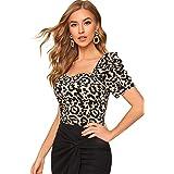 Verdusa Women's Elegant Puff Short Sleeve Leopard Print Blouse Tee Top