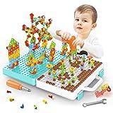 518Pcs Electric DIY Drill STEM Puzzle Toy Set, Creative Mosaic Drill Puzzle Kit, 2D 3D Educational Building Blocks Constructi