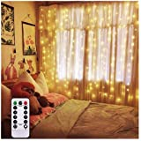 Battery Operated Curtain String Lights with Remote Timer Bedroom Garden Fairy LED Waterfall Background Light for Outdoor, Ind