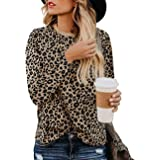 Jedyful Women's Leopard Print Blouses Long Sleeve Crewneck Basic Casual Top Soft Shirts