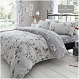 Gaveno Cavailia Luxury Birdie Blossom Bed Set with Duvet Cover and Pillow Case, Polyester-Cotton, Grey, Super-King